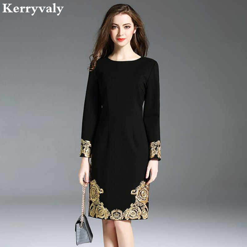 921b23ac354941 OL Women Black Embroidery Dress Robe Femme Hiver 2019 Robe Vintage Spring  Gothic Dress Tunique Femme