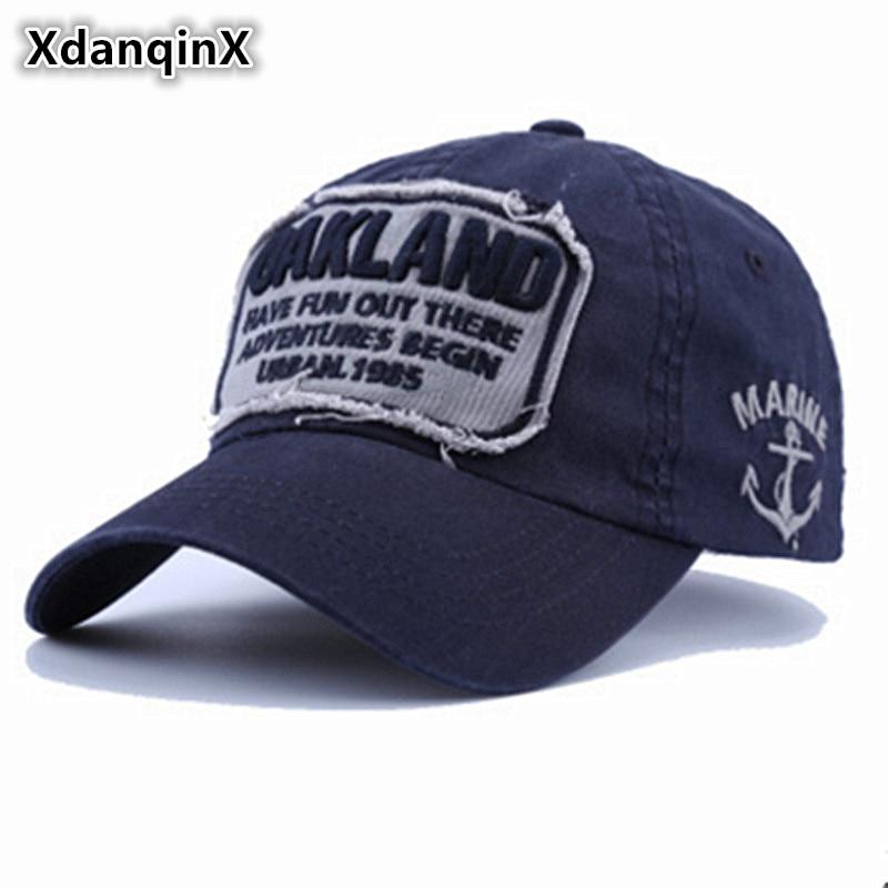 XdanqinX vasaras pieaugušo kokvilnas beisbola cepurītes ar mazgāšanas malu slīpēšanas burtu izšūšanu ar regulējamu izmēru hiphopa zīmola vāciņu Unisex