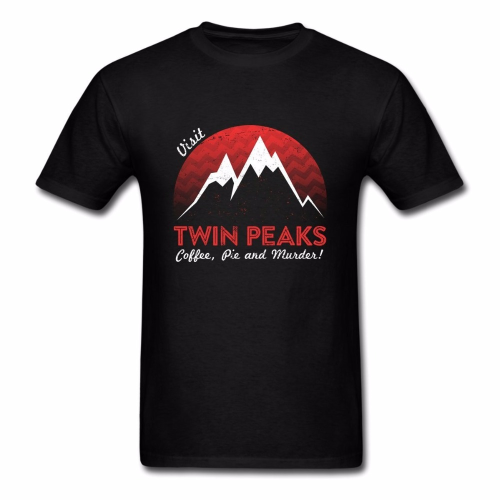 Cheap Mens Graphic Tees Short Sleeve Top Mens Visit Twin Peaks Cotton Graphic T-Shirt Crew Neck T Shirt For Men