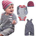 Hot selling Baby suit Boy clothes Kid overalls + Baby Romper + Cap 3pcs/set baby boy suit Made of cotton/ Sport set