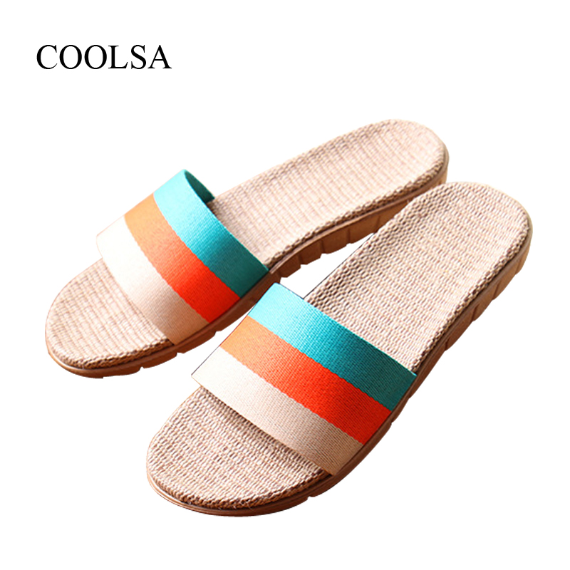 COOLSA Brand Women's Striped Anti-slip Slippers Breathable Fashion Beach Slippers Home Linen Slippers Women Flat Beach Slippers coolsa women s summer striped linen slippers breathable indoor non slip flax slippers women s slippers beach flip flops slides