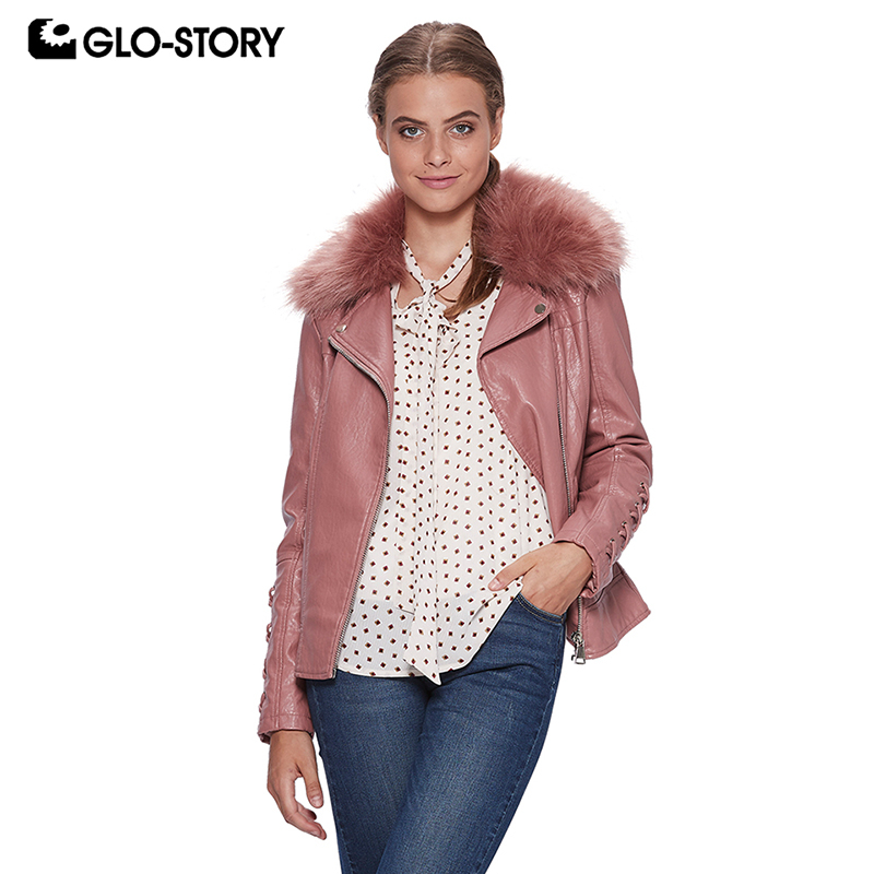GLO-STORY Women 2018 Streetwear Fashion Winter Fleece Liner Thick Warm   Leather   Jackets Woman Lace-up Sleeve with Fur PU Coats