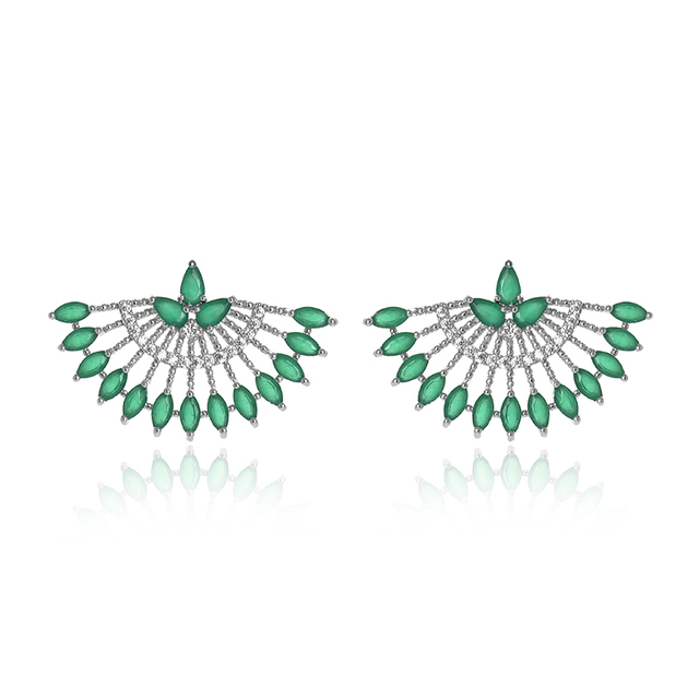 Vintage Silver Platinum Plated Hollow Out Zircon Fun Shape Stud Earrings Green Jade Paved Earring Studs