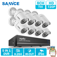 SANNCE 8CH TVI DVR 8PCS 1.0MP 720P HD IR Weatherproof Outdoor CCTV Camera System Home Security Kit Surveillance Kits Email Alert