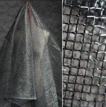 0.37mm Black silver diamond hard mesh polyester fabric dress perspective hollow texture textiles C627