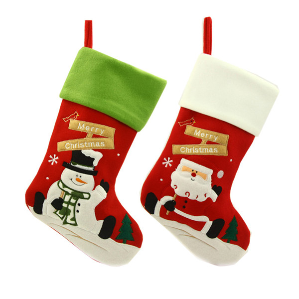 Christmas Stockings Cartoon.Us 11 02 42 Off Lovely 2 Pcs Christmas Stocking New Fashion Cartoon Santa Claus Snowman Gift Sock Ornament Socks Christmas Decoration Hot Sale In
