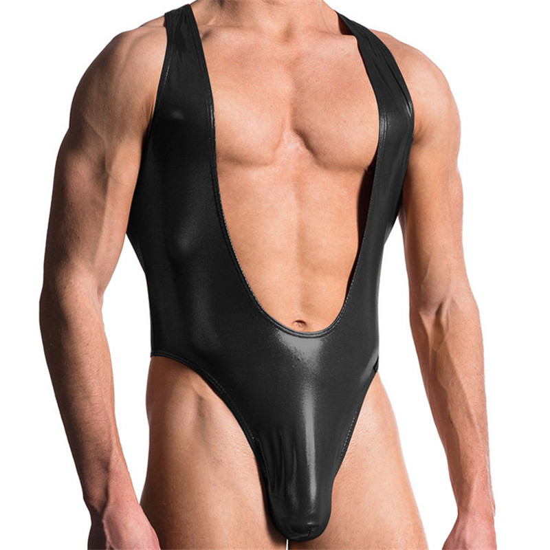 M-XXL Excellent Men's Black Soft PU Leather Wrestling Singlet Bodysuit Jockstrap Pouch Penis Undershirt Erotic Gay Lingerie New