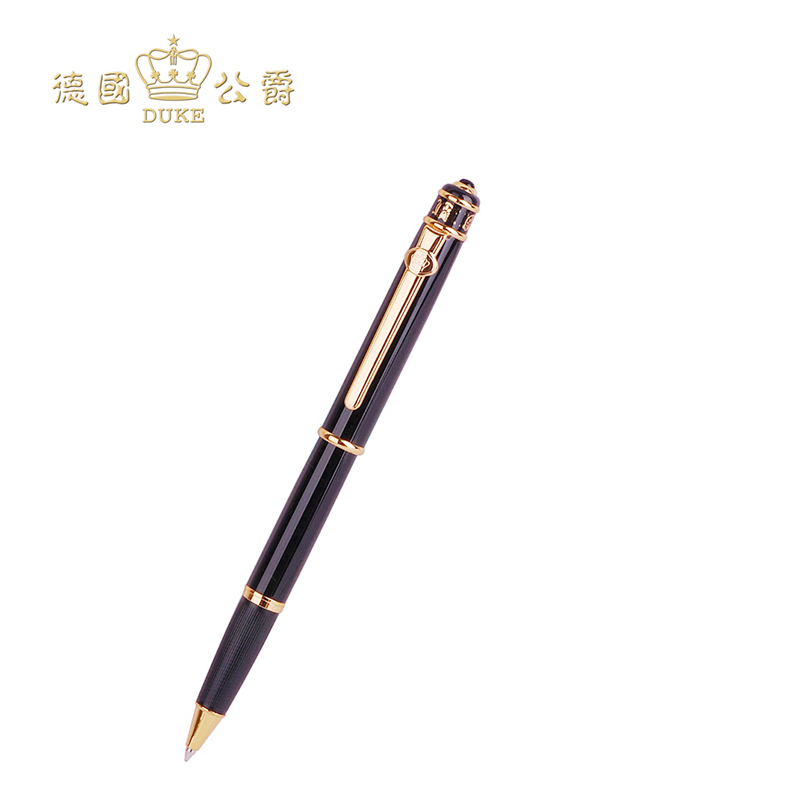 Duke Black Gold Clip Rollerball Pen Black Ink 0.7mm Refill Ballpoint Pen High Quality Office and School Writing Pens with A Box black new arrival ballpoint pen and bag metal school office supplies roller ball pens high quality business gift 003