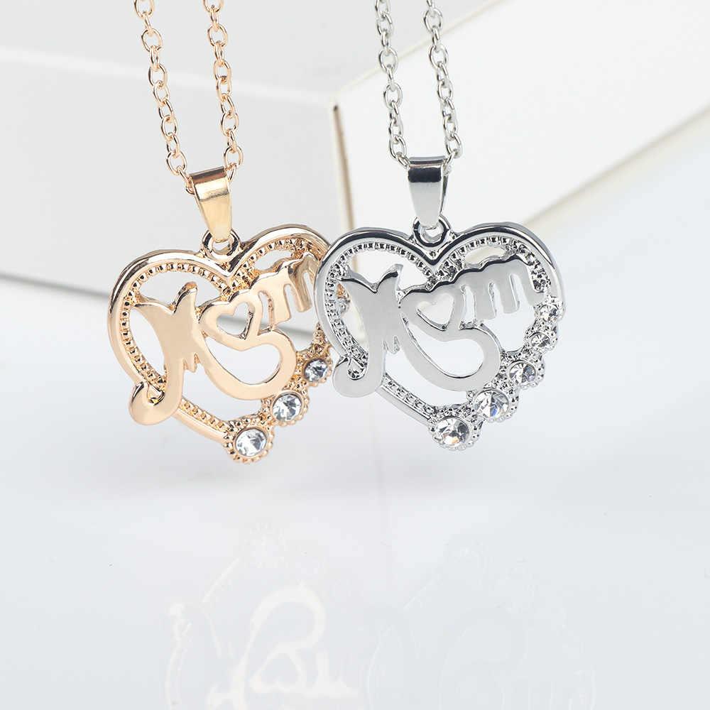 Amor coração mãe letras pendentes colares de cristal moda feminina jóias proposta dia das mães melhor presente elegante