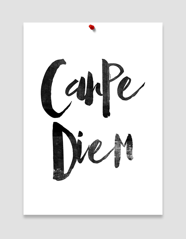 Carpe Diem Seize The Day Black White Art Scandinavian Typographic