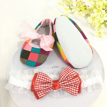 Kids flowers Shoes  Girl Princess Lace Headband Cute Infant Girl Toddler Shoes Set Newborn Photography Props   5TX31