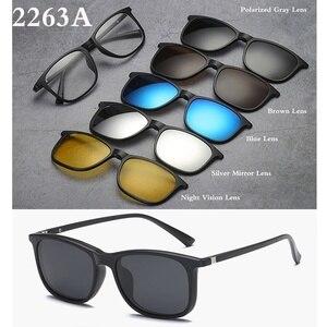 Image 5 - Belmon Spektakel Rahmen Männer Frauen Mit 5 PCS Clip Auf Polarisierte Sonnenbrille Magnetische Gläser Männliche Myopie Computer Optische RS543