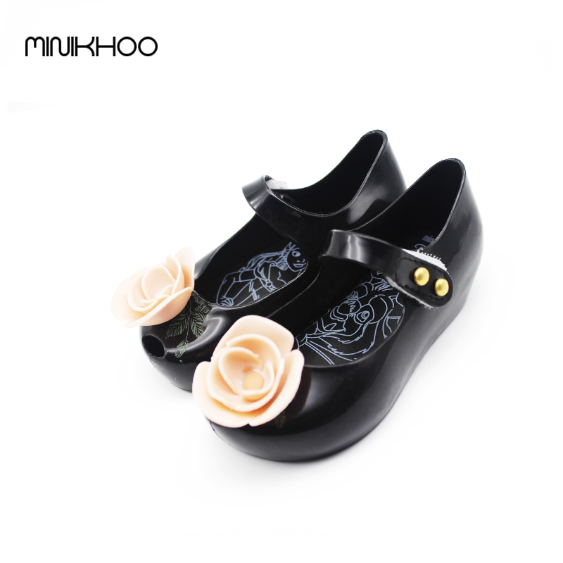 Mini Melissa 2017 New Brazilian Beauty Beast Jelly Sandals Rose Tea Teapot Melissa Children Shoes Sandals