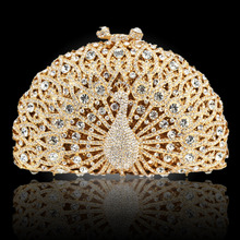 Stilvolle Tier Pfau Diamante Abendtaschen Luxury Kristall Clutch Hochzeit Handtasche Frauen Party Geldbörse Pochette Bankett Tasche 88196