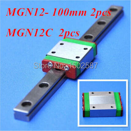 2pcs MGN12 12mm Linear Rail Slide MGN12 L-100mm long Rail +2pcs MGN12C Carriage /Guide Block CNC Parts XYZ Axis2pcs MGN12 12mm Linear Rail Slide MGN12 L-100mm long Rail +2pcs MGN12C Carriage /Guide Block CNC Parts XYZ Axis