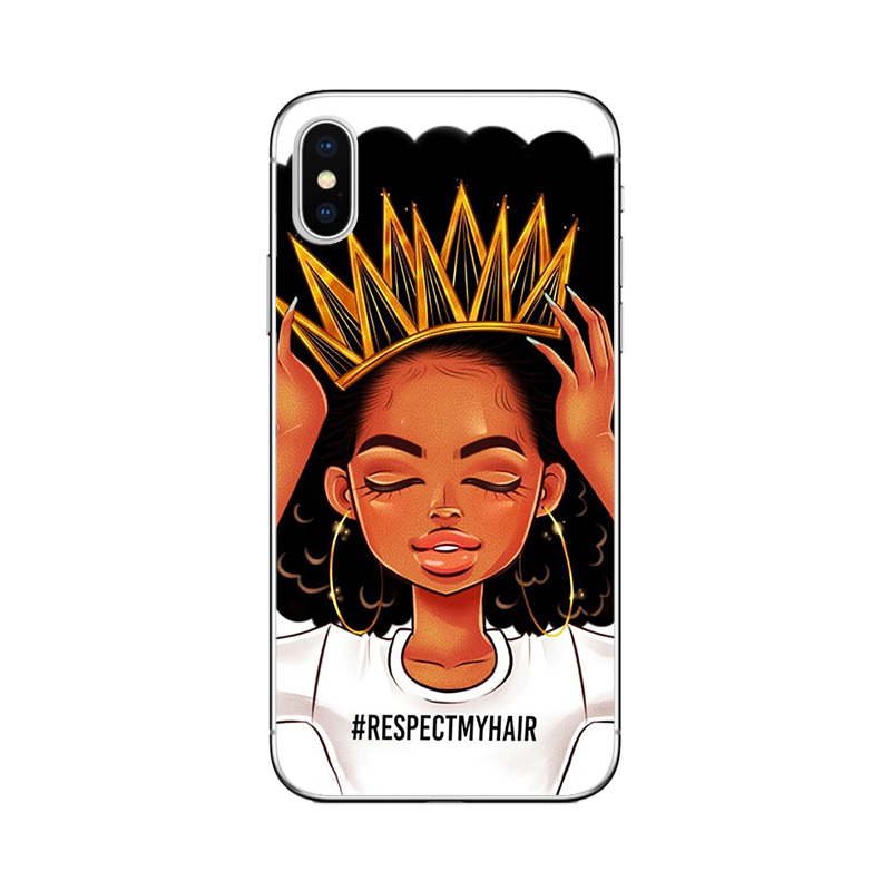 Melanin Poppin Black Girl Case For iPhone XS Max XR X Cases For iphone 7 8 Covers Funda for iPhone 6S 6 7 8 Cover Coque Bumper