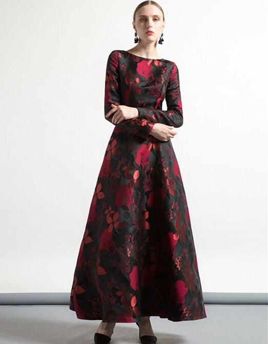 9ddea29d7 DF lujo Vintage Jacquard cuello redondo otoño vestido largo talla grande mujeres  musulmanas manga larga fiesta noche Maxi vestidos noche 6266 en Vestidos de  ...