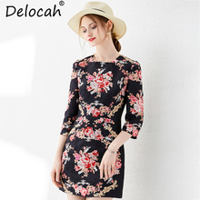 Delocah New Women Autumn Dress Runway Fashion 3/4 Sleeve Floral Printed Beading Back Zipper Elegant Vintage Party Mini Dresses масляный радиатор timberk tor 21 2009 bc bcl белый