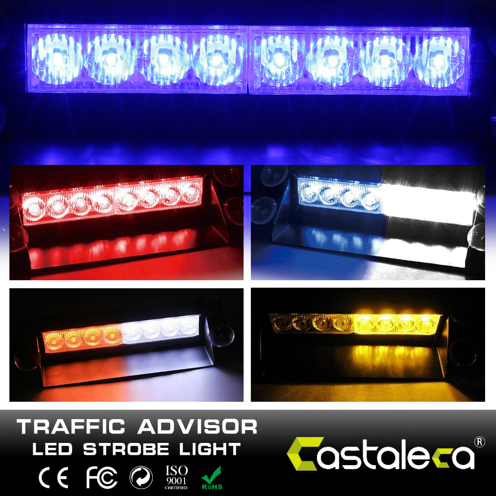 Castaleca 8 LED car customize Police Strobe Flash Light Dash Emergency Warning 3 Flashing Flash Light Beacon Light car styling