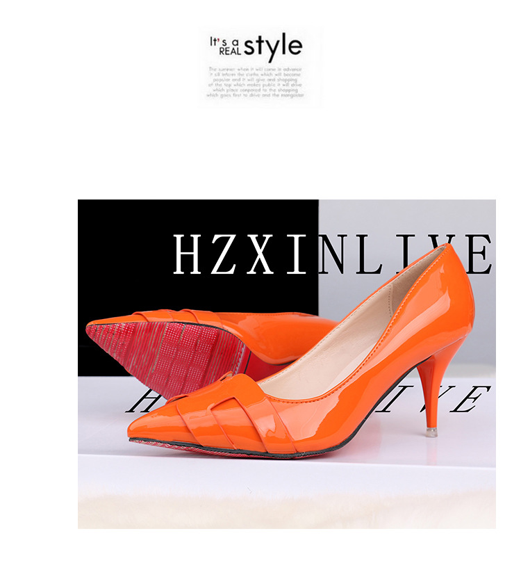 2019 new arrival Pointed Toe Office Solid Flock High Heels green and orange color