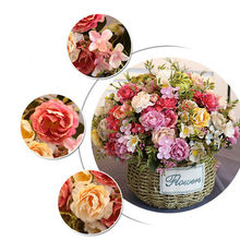 Rose Pink Silk Peony Artificial Flowers Bouquet 12 Head Cheap Fake for Home Wedding Decoration indoor