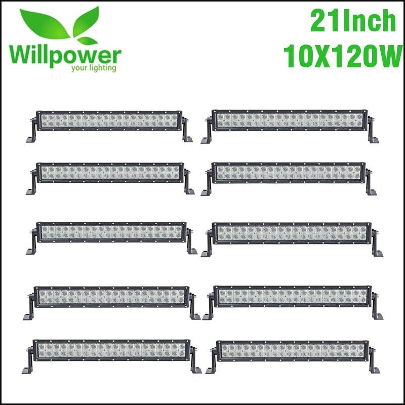 10 pcs 21 Pouces 120 w Combo Faisceau LED Light Bar pour Travail Conduite Bateau Voiture Camion 4x4 SUV ATV Off Road Lampe de Brouillard De Voiture Lumière