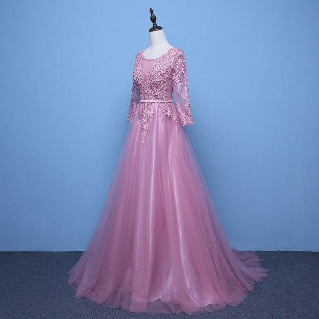 2020 Evening Dresses 3/4 Sleeves Appliques Silver Formal Gown Long Evening Party Dress vestido de festa 4