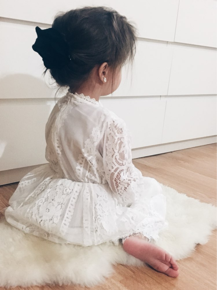 2018 Dívky Šaty Krajky Bílé Dlouhé rukávy Princezna Šaty Jaro Léto Korejský Styl Děti Děti Dívky Oblečení Pro 2-8 Let