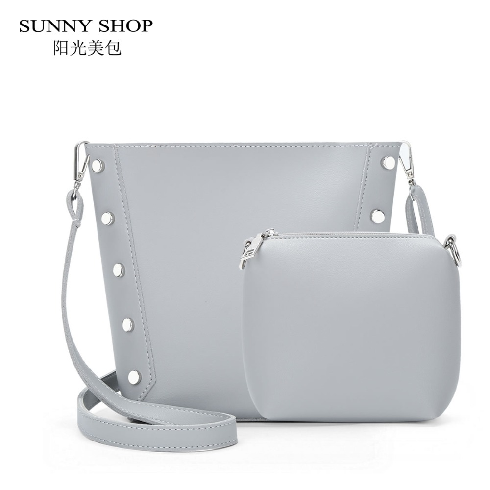 Sunny Shop 2017 New Korean Rivets Bucket Women Shoulder Bags Pu Brunbrun Paris Corby Bag Leather Composite Students Girls Small Messenger Set