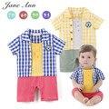 Мальчик с коротким рукавом синий и желтый плед комбинезон для новорожденных малышей досуг стиль милый летом хлопка партия одежды