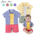 Baby boy short sleeve blue and yellow plaid jumpsuit infant toddler leisure style cute summer cotton party clothes