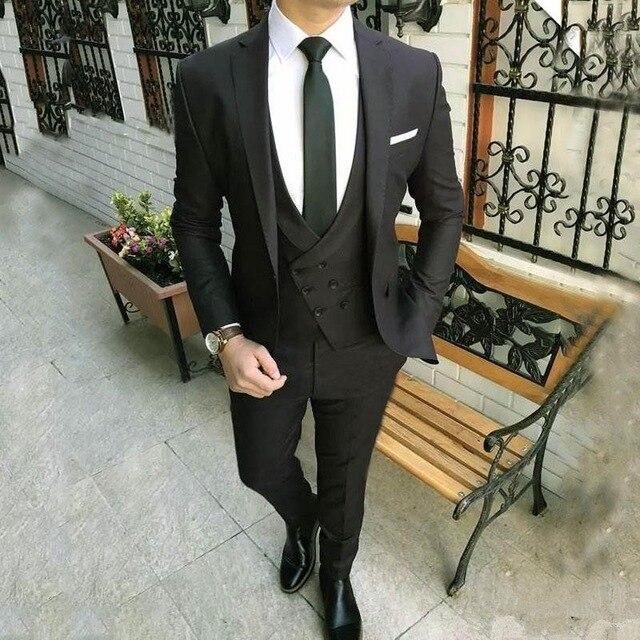 Robe de mariée noire ensemble 3 pièces (manteau + pantalon + veste) costume de mariage personnalisé pour hommes robe groomsman hommes vont au travail