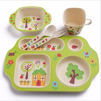 Bamboo Fiber Baby Feeding Dinnerware Set 5pcs with Plate Bowl Cup Fork Spoon Children Tableware Service Love Eating Cartoon Type