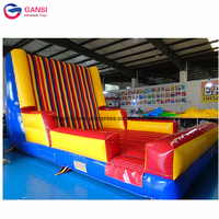 Commercial outdoor bouncing inflatable stick wall, carnival game inflatable sticky wall with free blower