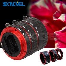 Metal vermelho TTL Auto Focus AF Anel Tubo de Extensão Macro para Canon EOS EF EF-S 60D 7D 5D II 550D 500D 450D 400D 350D 300D 100D 200D