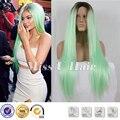 Кайли дженнер парик черный мятно-зеленый ломбер парик синтетического кружева перед парик длинные зеленые парик