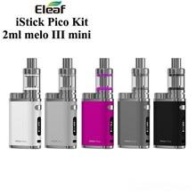 2017 Electronic Cigarette iSmoka Eleaf iStick Pico Kit 75W Box Mod Vape 2ML Melo III Mini / 4ML Melo III Tank Vaporizer Hookah