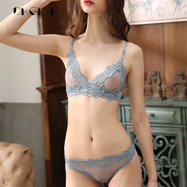 New Fashion Flowers Embroidery Lace Blue Lingerie Set -7745