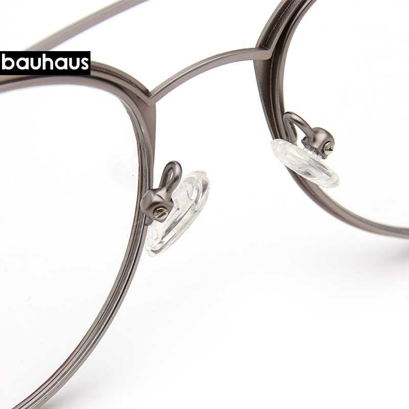 Kadın gözlük çerçevesi erkekler Vintage tasarım çift kirişli gözlükleri kadın şeffaf Lens gözlük Unisex Retro gözlük gözlük