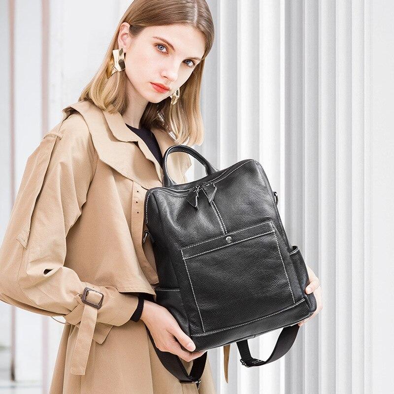 Noir Bagpack De D'écolier Cuir Nouveau Épaule Sacs Pour Dos À Femme 2019 Véritable Sac Filles En Luxe Mode Glissière WPwU6nzqT