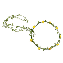 2017 NEW Lady Boho Floral Flower Festival Wedding Garland Forehead Hair Head Band yellow
