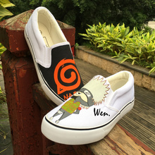 Wen Anime Hand Painted Adult Shoes Custom Design Naruto Slip on Loafers Man Casual Sneakers Woman Canvas Shoes Christmas Gifts