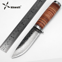 KKWOLF Fixed blade Hunting Knife Handmade forged Damascus Steel camping knifeblade 58HRC leather handle survival Tactical tool