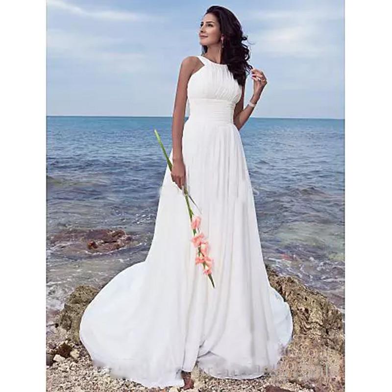 Simple Halter Beach Wedding Dress Long Chiffon Ruffle