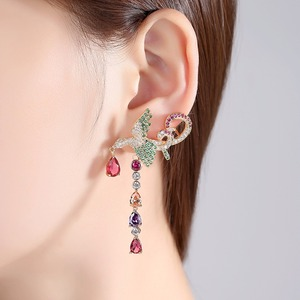 Image 2 - LUOTEEMI Delicate Gorgeous Sumptuous Multicolor Phoenix Shape Long Drop Earrings Gift For Girl Friend Wife Mom Aniversary Party