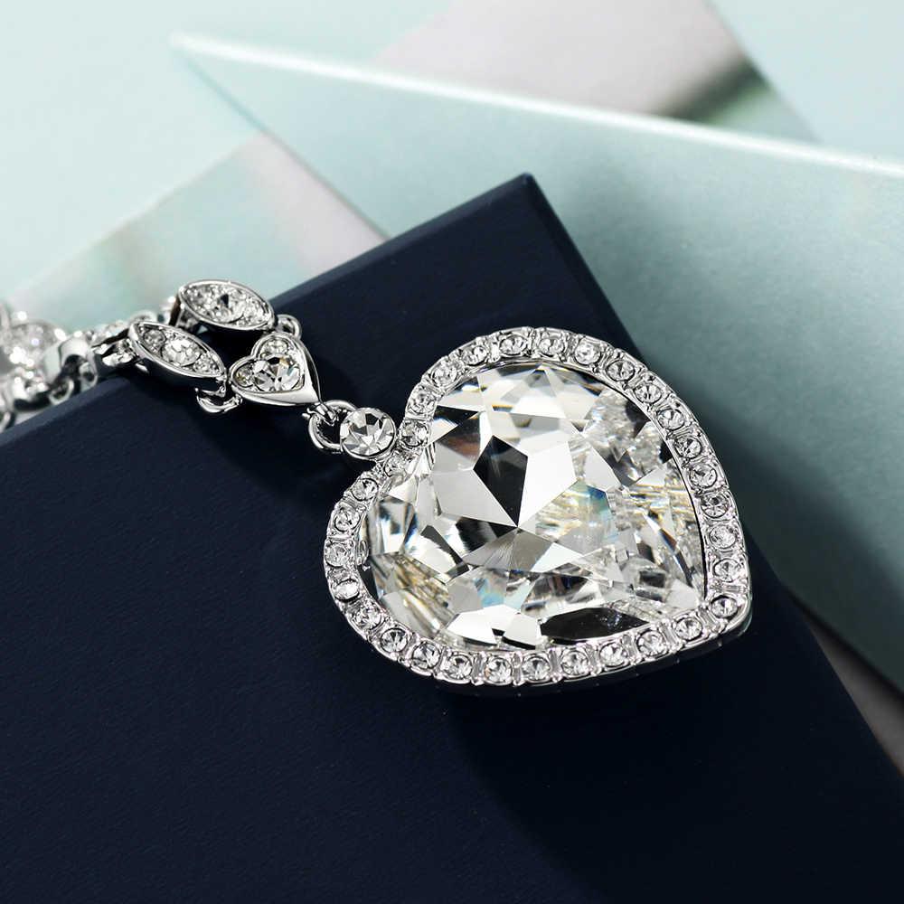 Neoglory Hati Biru Laut Kalung Titanic untuk Cinta untuk Hadiah Valentine Dihiasi dengan Kristal dari Swarovski
