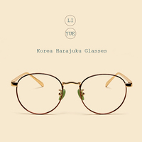 LIYUE Women myopia Spectacle Frame Gold Eyewear Frame Glasses Round High quality Brand Designer vintage Prescription eyewear men