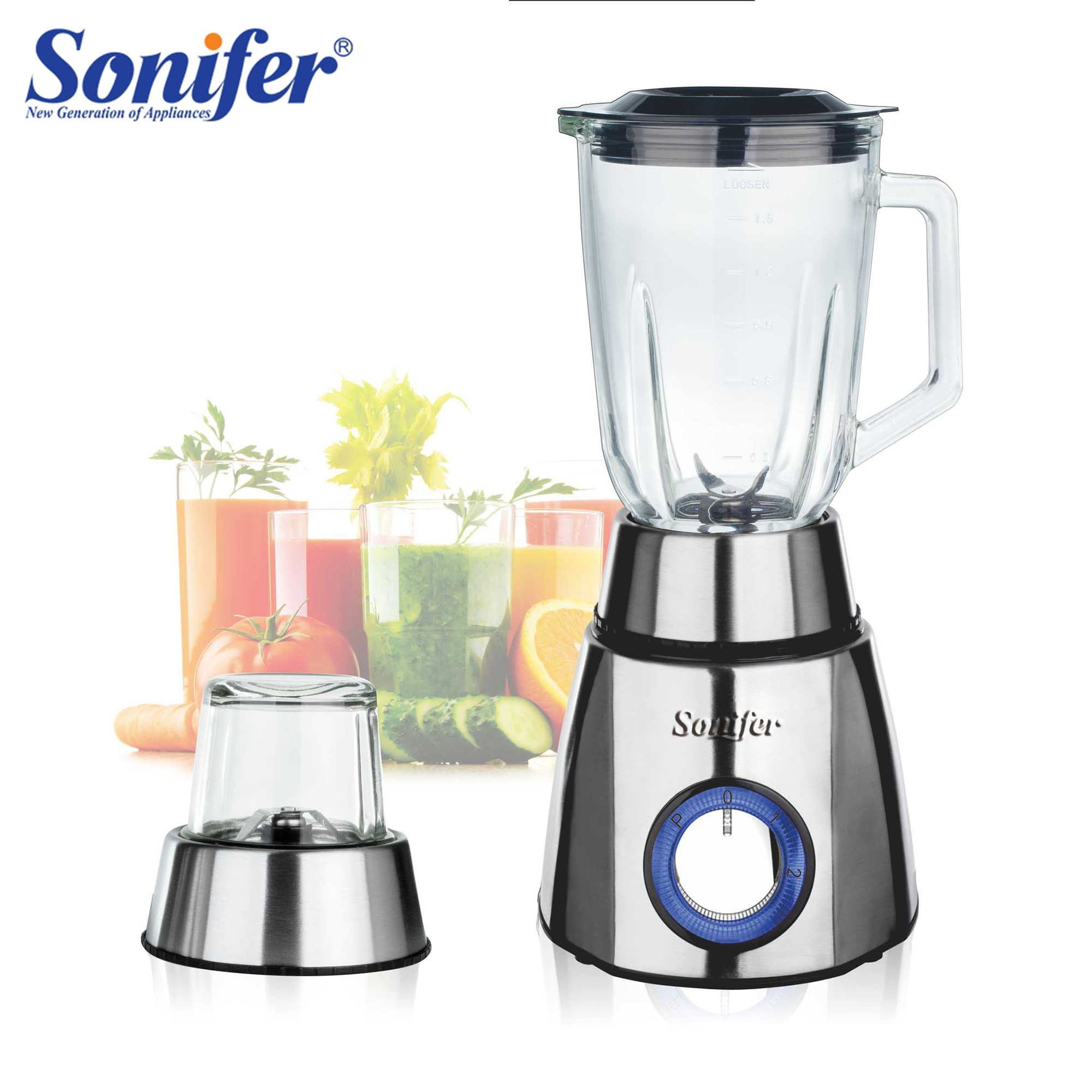 2 Speed Electric Blender Stainless Steel Housing 2in1Grinder Household Food Mixer Juicer Fruit Food Processor Crush Ice Sonifer