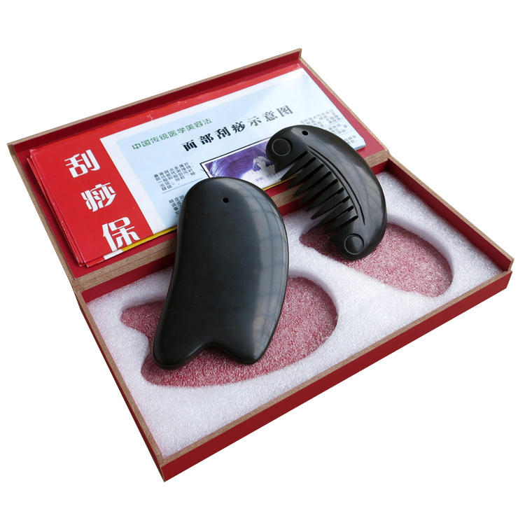 Traditional Acupuncture Massage Tool 5A Bian stone beauty face kit (gua sha plate+guasha half round comb 2pieces/lot купить в Москве 2019