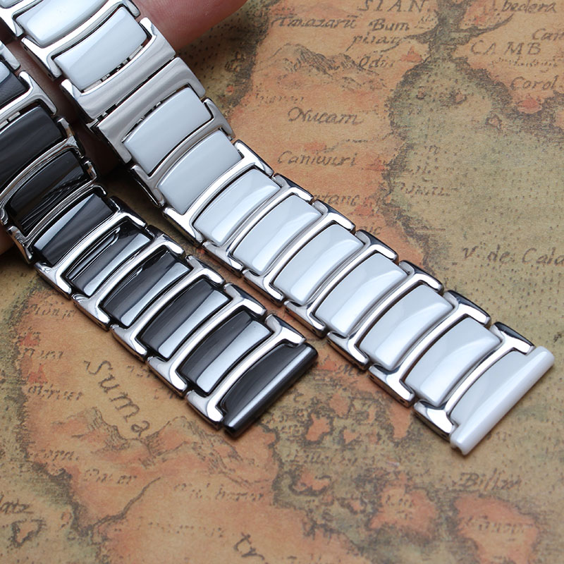 20mm 22mm ceramic and stainless steel watchband white black watchband watch strap Butterfly Buckle for diamond wristband fashion карабин black diamond black diamond rocklock twistlock